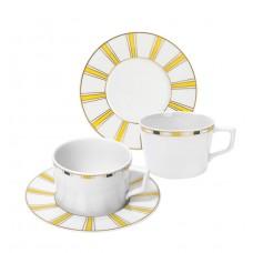 Капучино чашки-Set, 4-tlg., Stripes, край маленький, синий, желтый и золото