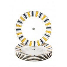 Десертная тарелка-Set 6-tlg., Stripes, бортовой царство, синий, желтый и золото, розетка по центру, края золота