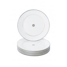 Закуски- & десертная тарелка-комплект, Stripes, зеркало золота нить, синяя рамка, розетка по центру