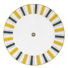 Десертная тарелка, Stripes, бортовой царство, синий, желтый и золото, розетка по центру, края золота, Ø 29 см