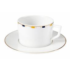 Кофейная чашка с блюдцем, полосы, кромка маленькая, в голубой, желтый и золотой, V 0,15 л