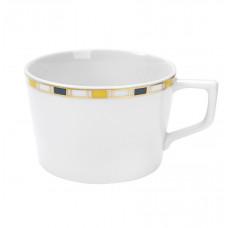 Капучино чашка, полосы, кромка малая в синий, желтый и золотой, V 0,2 л