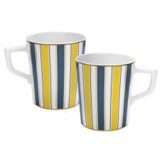 Кофейная кружка-Set, 2-tlg., Stripes, полный Декор, синий и золотой, золотой край