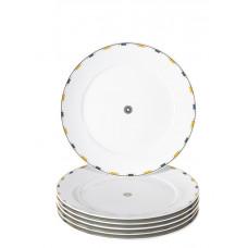 Десертная тарелка-Set 6-tlg., Полосы, облегченная оправа, синий, желтый и золото, розетка по центру, края золота