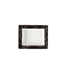 Vide-poche мал, торговые марки Мейсен мечи,платина,черный борт, платина край, 12,3 х 10 см