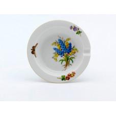 Ascher, Blume naturalistisch, bunt, mit Schmetterling, Goldrand, ø 9 cm