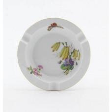 Ascher, Blume naturalistisch, bunt, mit Schmetterling, Goldrand, ø 12 cm