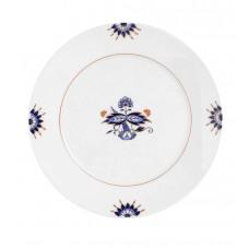 Закуска- & десертная тарелка, синий Noble, двойной лист, Bl–tenknospe, синий кобальт, красный и золото со скидкой чате, Ø 22 см
