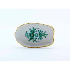 Ascher, Indische Malerei, grün, Goldpunkte, Goldrand, L 8 cm