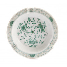 Ascher, Indische Malerei, grün, Goldpunkte, Goldrand, ø 12 cm