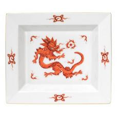 Vide-poche gro, Минг-дракон, богатый красный, без оправы, золотые края, 21 х 18,5 см