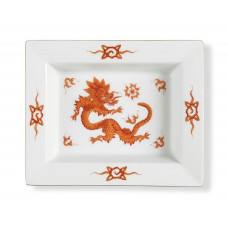 Vide-poche маленький, Минг-дракон, империя, красный, без оправы, золотые края, 12,3 х 10 см