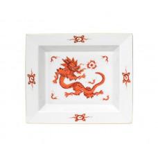 Vide-poche средства, Минг-дракон, империя, красный, без оправы, золотые края, 16 х 13,5 см