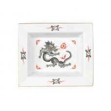Vide-poche средства, Минг-дракон, богатый, черный, без оправы, золотые края, 16 х 13,5 см