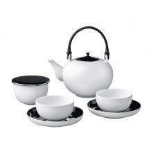 Чайный набор,Черный застекленный, платиновые украшения