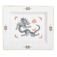 Vide-poche gro, Минг-дракон, богатый, черный, без оправы, золотые края, 21 х 18,5 см
