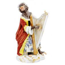 Арфистка обезьян часовня, staffiert красочные и золото, H 12 см