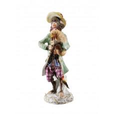 Волынщик обезьян часовня, staffiert красочные и золото, H 14,5 см