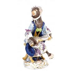 S—ngerin обезьян часовня, staffiert красочные и золото, H 12 см