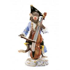 Бас-скрипач обезьян часовня, staffiert красочные и золото, H 13 см