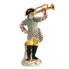 Трубач Галанте часовня, staffiert Красочные и золото, H 14,5 см