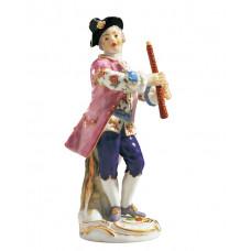 Галант часовня кларнетист, Разноцветные и золотые staffiert, H 14,5 см