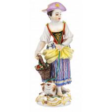 G—rtnerm—девушка с овцами, красочные золото и staffiert, H 15 см