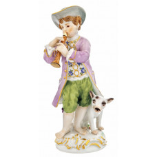 G—rtnerjunge с шалмей и собака, staffiert красочные и золото, H 15 см