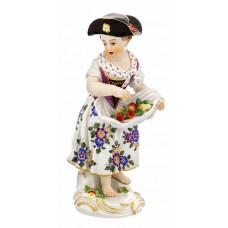 G—rtnerm—девушка с цветами и Fr–staffiert правили красочно и золото, H 15 см
