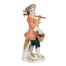 G—rtnerjunge с мотыгой и корзиной, разноцветные и золотые staffiert, H 15,5 см