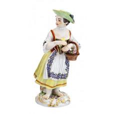 G—rtnerm—девушка с корзиной на Руке, красочные золото и staffiert, H 15 см