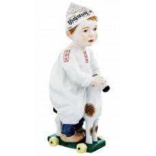 Ребенок с Zeitungsm–tze, красочный staffiert, H 17 см