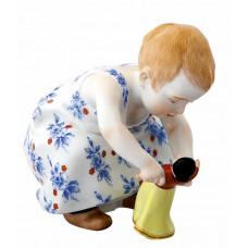 Ребенку с куклой, красочный staffiert, H 11 см