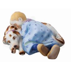 Ребенок на собаке спит, разноцветные и золотые staffiert, H 7,5 см