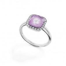 Кольцо My little Mystery гламур с розой фиолетовый фарфора и горного хрусталя