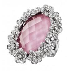 Кольцо Mystery Bl–ten с розового фарфора и горного хрусталя