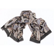 Шарф платок 100% шелк, Пейсли шарф, nero, 180 x 68 см