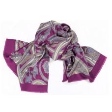Шарф платок 100% шелк, Пейсли шарф, розовый, 180 см х 68 см