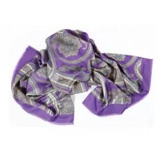 Шарф платок 100% шелк, Пейсли шарф, lavanda, 180 x 68 см