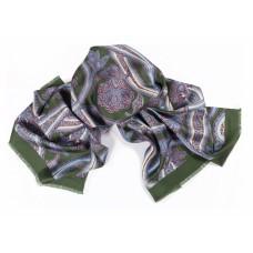 Шарф платок 100% шелк, Пейсли шарф, verde, 180 x 68 см