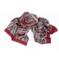 Шарф платок 100% шелк, Пейсли шарф, rosso, 180 x 68 см