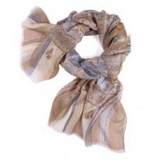 Шарф в 85% модал/15% шелк, English Пейсли дизайн в пастельных цвет темно-бежевый со светло-голубыми эффектами, 180 x 68 см