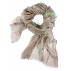 Шарф в 85% модал/15% шелк, English Пейсли дизайн в пастельных бежевого цвета с grüные эффекты, 180 x 68 см