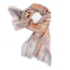 Шарф в 85% модал/15% шелк, English Пейсли дизайн в пастельных цвет серый с оранжевыми эффектами, 180 x 68 см