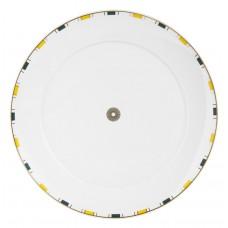 Десертная тарелка, полосы, облегченная оправа, синий, желтый и золото, розетка по центру, края золота, Ø 29 см